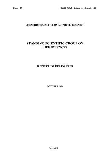 SCAR XXVIII 13: Report of the Standing Scientific Group on Life Sciences (LSSSG)