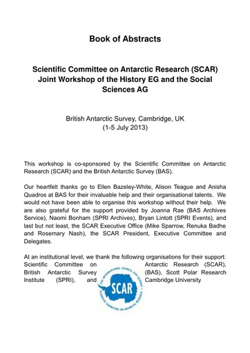 Abstracts of the Joint Workshop of the History EG and Social Sciences AG 2013