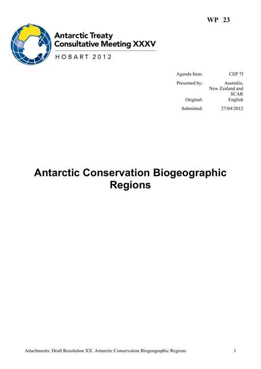 WP023: Antarctic Conservation Biogeographic Regions
