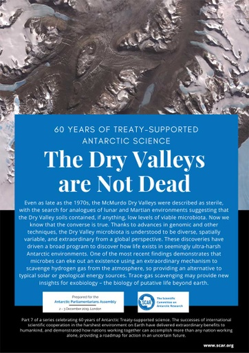 60 Years of Treaty-Supported Antarctic Science - The Dry Valleys are Not Dead