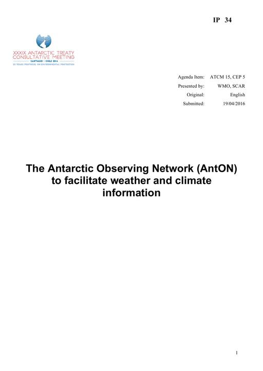 IP034: The Antarctic Observing Network (AntON) to Facilitate Weather and Climate Information