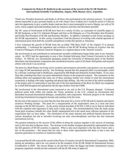Robert Rutford - SCAR Medal for International Scientific Coordination 2010 - Response