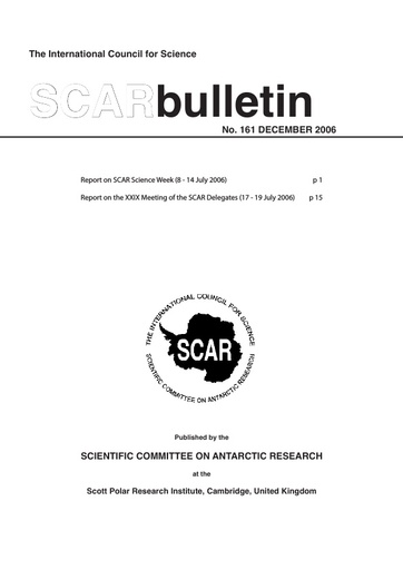 SCAR Bulletin 161 - 2006 December - Report on the XXIX Meeting of SCAR Delegates, Hobart, 2006