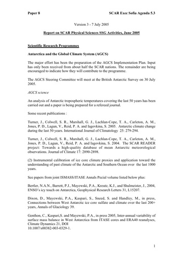 SCAR EXCOM 2005 08: Report of the SCAR Standing Scientific Group on Physical Sciences (SSG-PS)