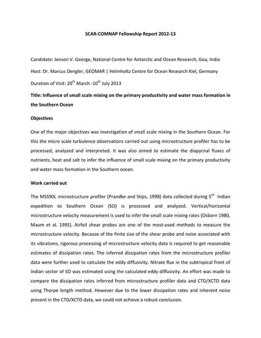 George 2012 Fellowship Report