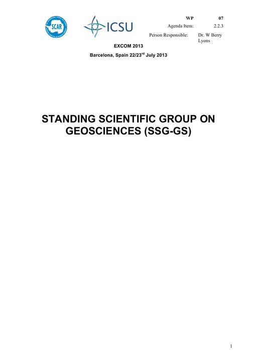 SCAR EXCOM 2013 WP07: Report of the SCAR Standing Scientific Group on Geosciences (SSG-GS)