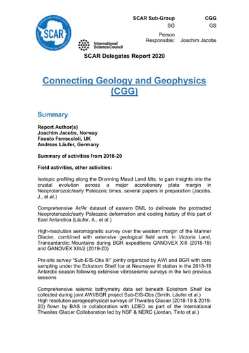 CGG Action Group Report 2020
