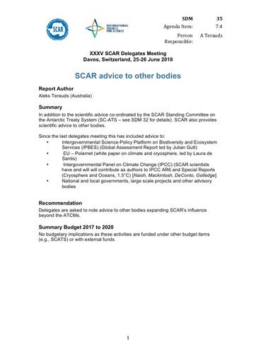 SCAR XXXV Paper 35: SCAR Advice to Other Bodies