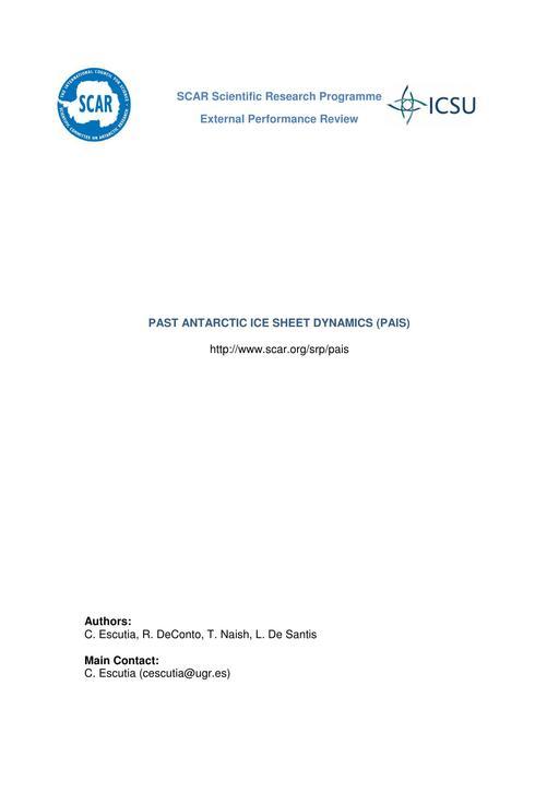 Past Antarctic Ice Sheet Dynamics External Performance Review Report 2015