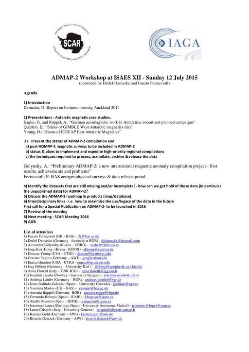 ADMAP-2 Workshop Report 2015