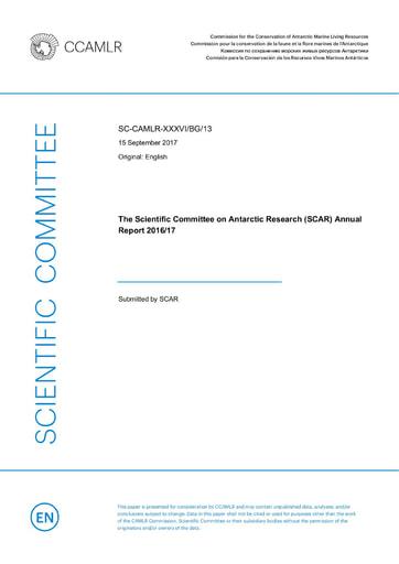 SCAR Annual Report 2016/17 to CCAMLR