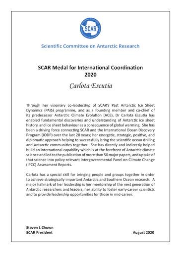 Carlota Escutia - SCAR Medal for International Scientific Coordination 2020