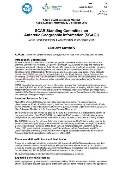 SCAR XXXIV WP21: Report on SCAGI (Standing Committee on Antarctic Geographic Information)