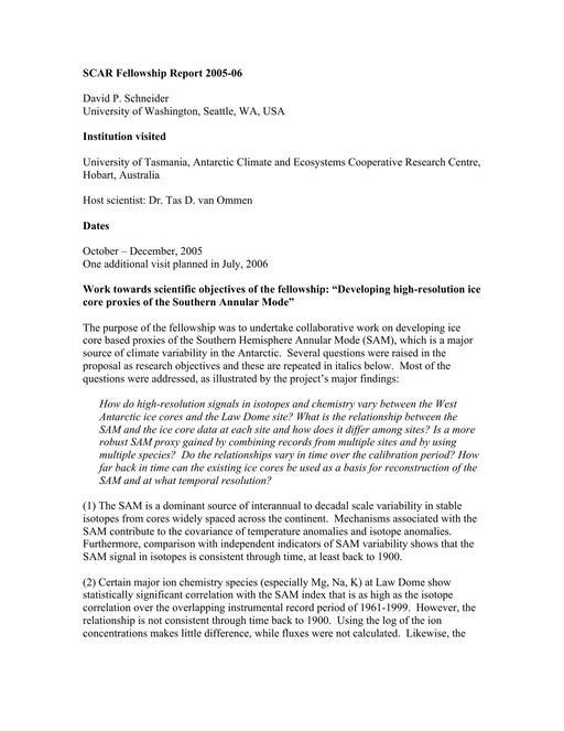 Schneider 2005 Fellowship Report