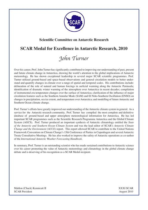 John Turner - SCAR Medal for Excellence in Antarctic Research 2010