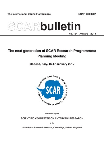 SCAR Bulletin 184 - 2013 August - Report of the Programme Planning Group Meeting, Modena, Italy, 2012