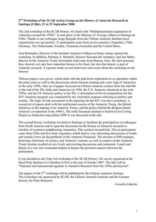 Report of the 2nd Meeting of SCAR History Action Group 2006: Multidimensional Exploration of Antarctica around the 1950s