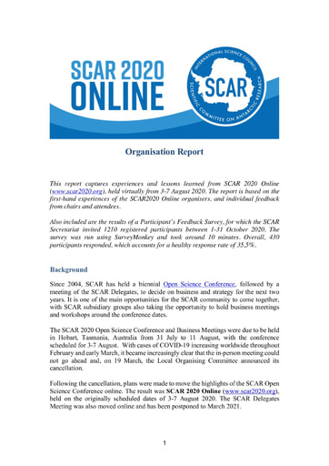 Report on the Organization of SCAR 2020 Online, 2020