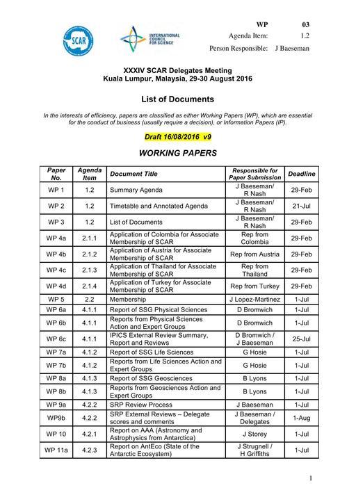 SCAR XXXIV WP03: List of Documents