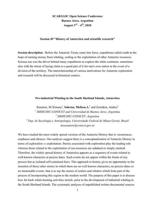 Abstracts of the 6th Meeting of SCAR History Action Group 2010: Polar History and Institutionalization of Polar Research - The International Polar Years