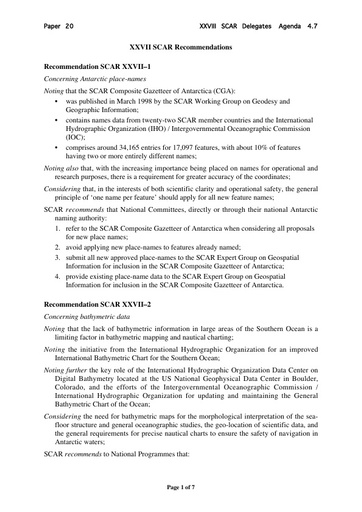 SCAR XXVIII 20: XXVII SCAR Recommendations