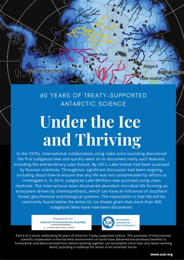 60 Years of Treaty-Supported Antarctic Science - Under the Ice and Thriving