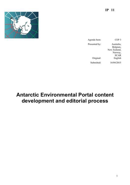 IP011: Antarctic Environmental Portal Content Development and Editorial Process