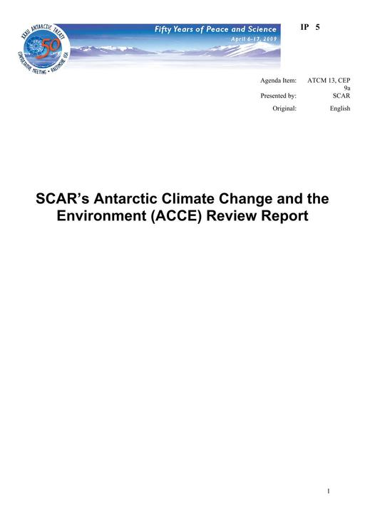 IP005: SCAR's Antarctic Climate Change and the Environment (ACCE) Review Report