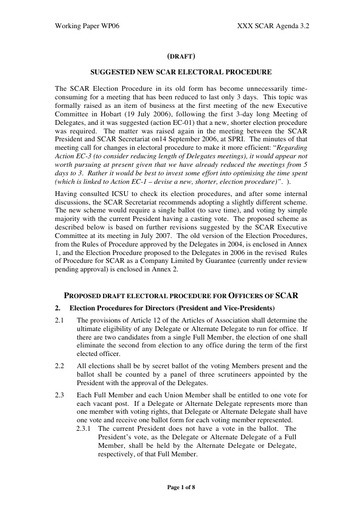 SCAR XXX WP06: Revised Election Procedure