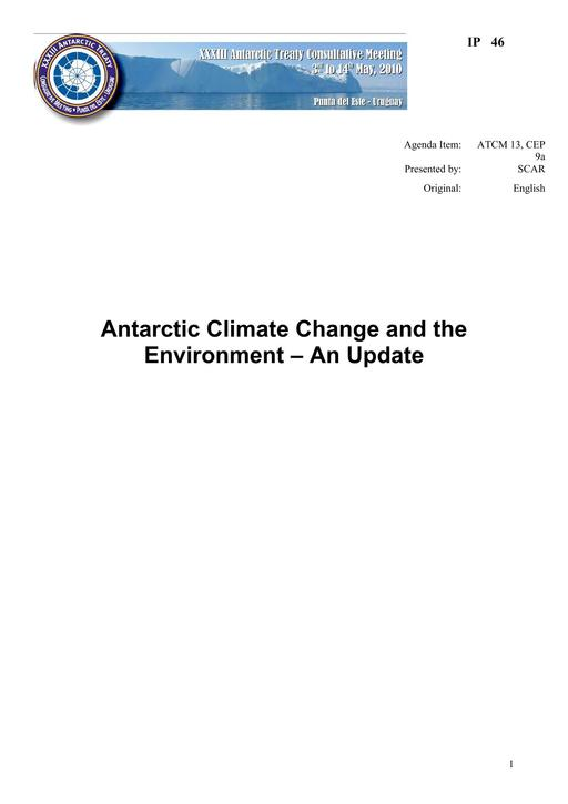 IP046: Antarctic Climate Change and the Environment – 2010 Update