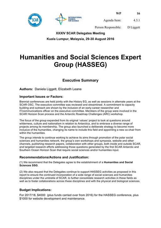 SCAR XXXIV WP16: Report from the Humanities and Social Sciences Expert Group (HASSEG)