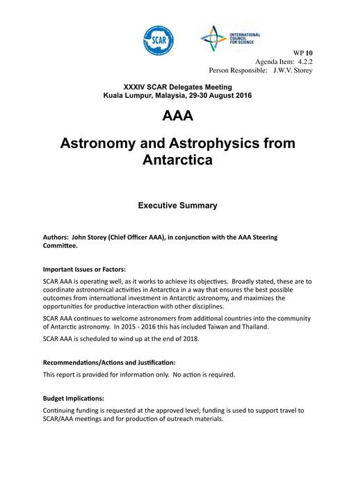SCAR XXXIV WP10: Report on AAA (Astronomy & Astrophysics from Antarctica)