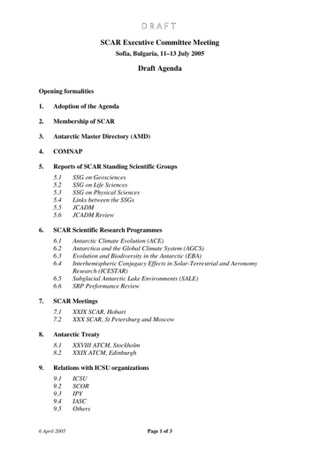 SCAR EXCOM 2005 01: Agenda