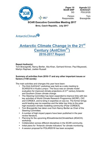 scar excom 2017 paper 10 report on antclim21 activities and plans