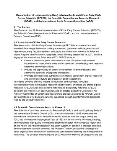 MoU between SCAR, IASC, and APECS, signed 12 April 2019