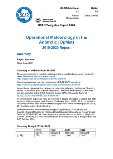 OpMet Expert Group Report 2020