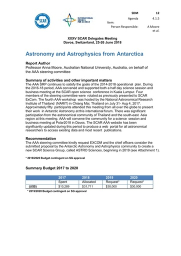 SCAR XXXV WP12: Astronomy and Astrophysics from Antarctica (AAA)