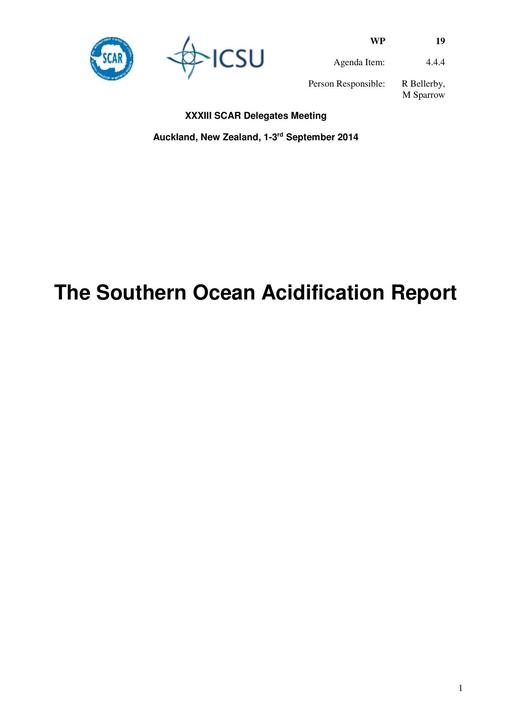 SCAR XXXIII WP19: The Southern Ocean Acidification Report