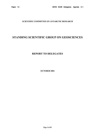 SCAR XXVIII 12: Report of the Standing Scientific Group on Geosciences (GSSG)
