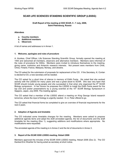 SCAR XXX WP08: Report of the SCAR Standing Scientific Group on Life Sciences (SSG-LS)