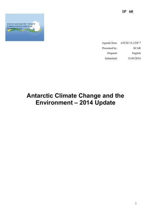 IP060: Antarctic Climate Change and the Environment – 2014 Update