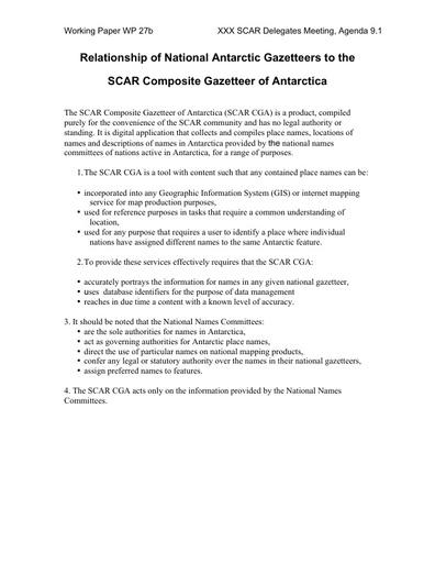 SCAR XXX WP27iii: Relationship of National Antarctic Gazetteers to the SCAR Composite Gazetteer of Antarctica