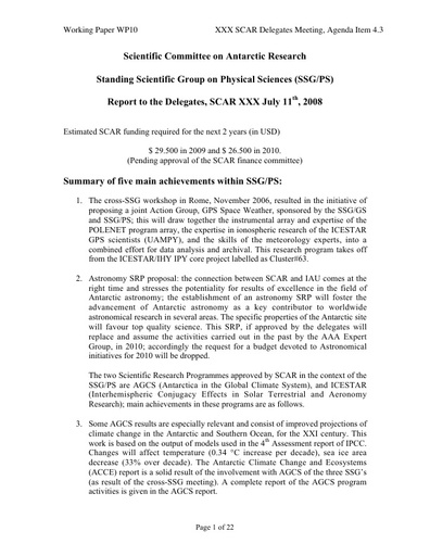 SCAR XXX WP10: Report of the SCAR Standing Scientific Group on Physical Sciences (SSG-PS)