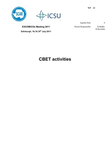 SCAR EXCOM 2011 WP23: Capacity Building, Education and Training (CBET) Plans