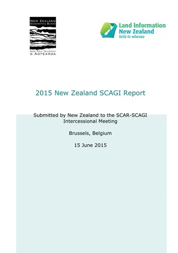 National Report to SCAGI from New Zealand, June 2015