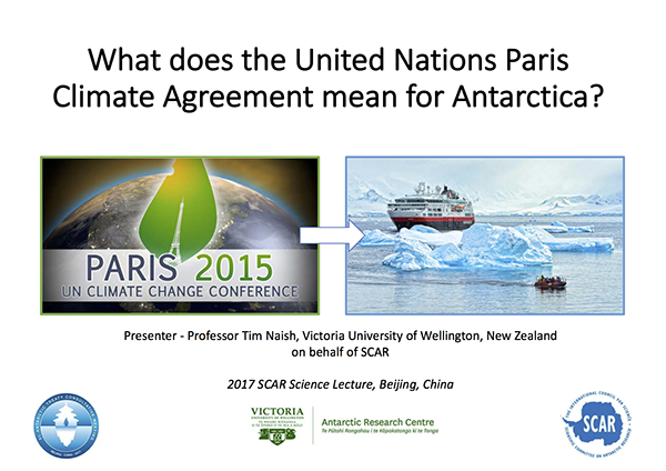 SCAR Lecture 2017: What does the United Nations Paris Climate Agreement mean for Antarctica?