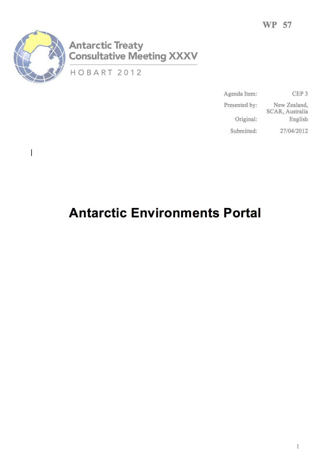 WP057: Antarctic Environments Portal